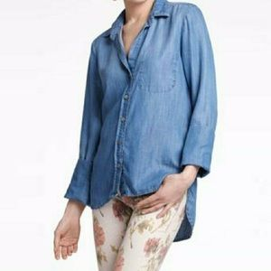 CLOTH AND STONE Chambray Button Up Shirt, 3XL
